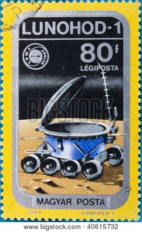 HUNGARY - CIRCA 1975:: A stamp printed in Hungary, presents Lunokhod-1, the first of two unmanned lunar vehicle in space, circa 1975