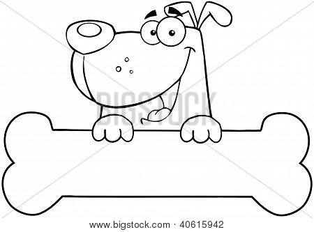 Outlined Cartoon Dog Over Bone Banner