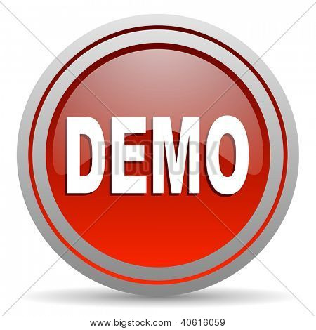 demo red glossy icon on white background