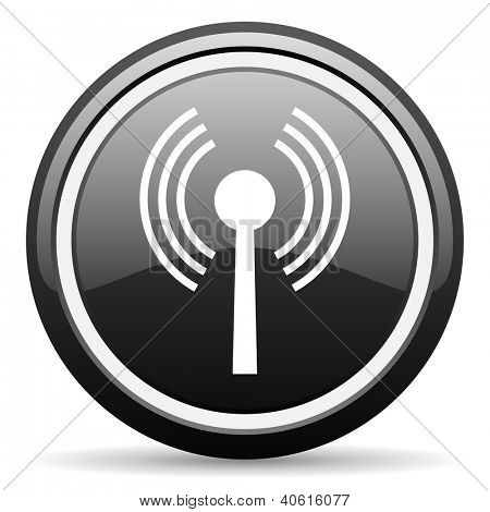 wifi black glossy icon on white background