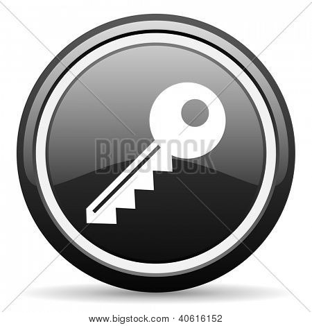 key black glossy icon on white background