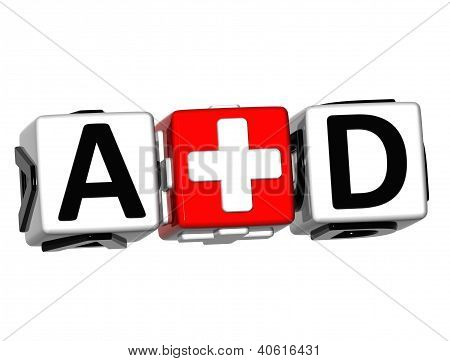 3D First Aid Button Click Here Block Text