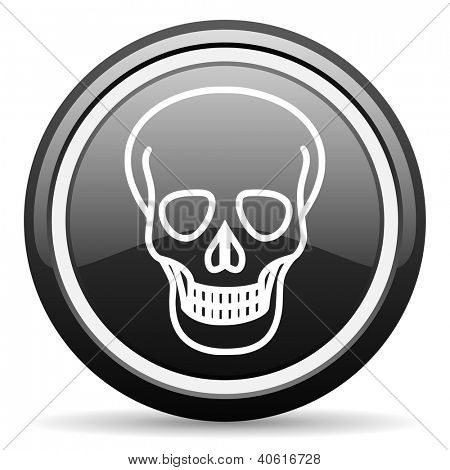 skull black glossy icon on white background