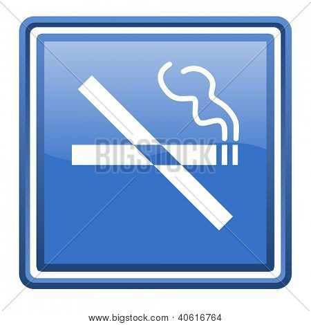 no smoking blue glossy square web icon isolated