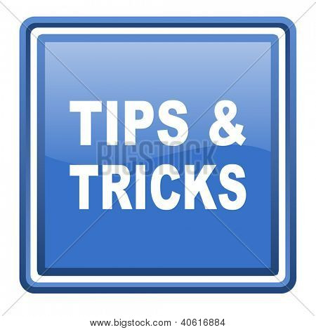 tips blue glossy square web icon isolated