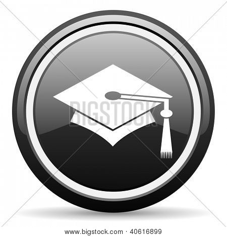 graduation black glossy icon on white background