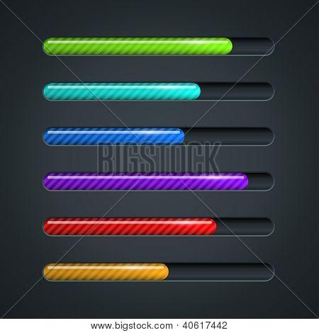 Color striped progress bar vector template.