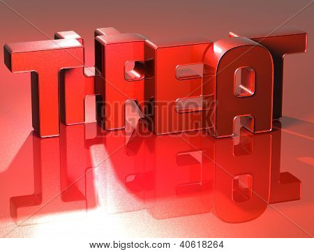 3D Word Threat On Red Background