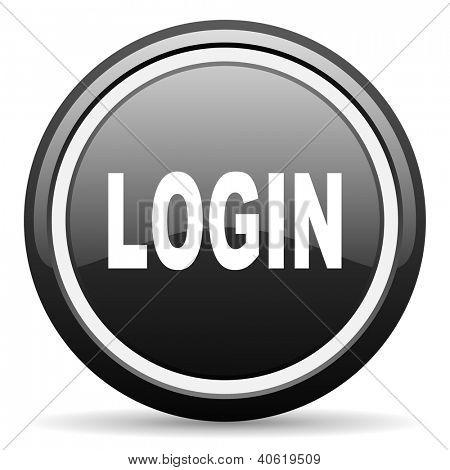 login black glossy icon on white background