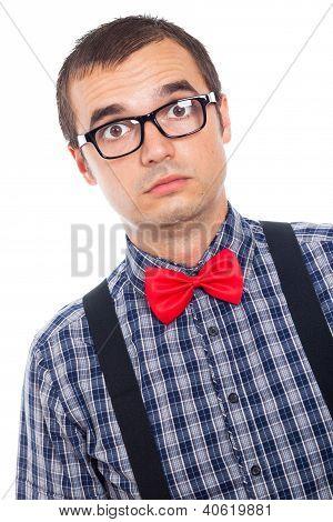Surprised Serious Nerd Man