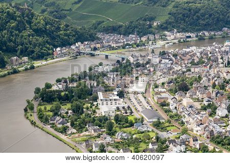 Aerial View Of German City Traben Trarbach At River Moselle