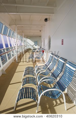 Blue And White Chairs  Enclosed Ships Deck