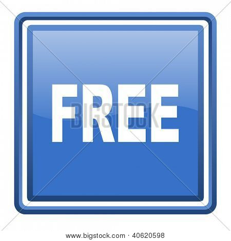 free blue glossy square web icon isolated