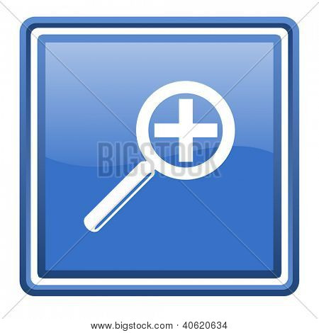 magnification blue glossy square web icon isolated