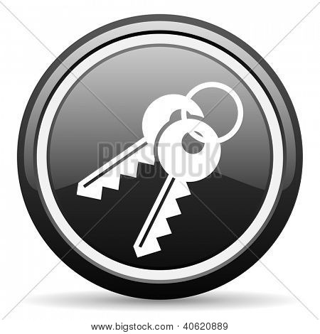 keys black glossy icon on white background