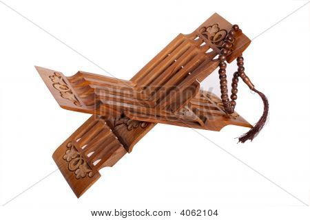 Book Rest For Koran With Wooden Rosary