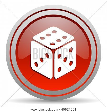 dice red glossy icon on white background