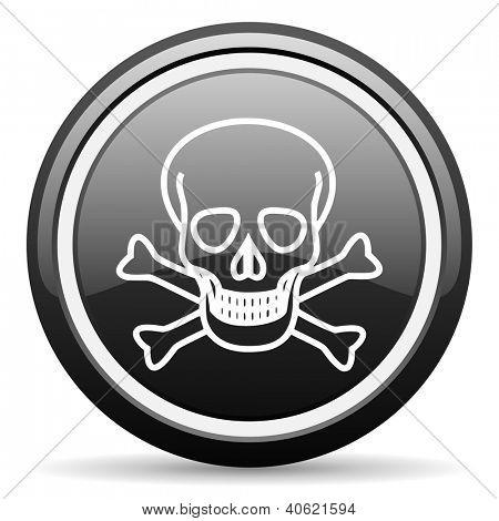 skull black glossy icon on white background
