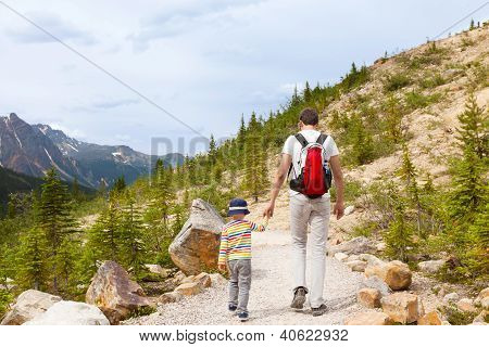 Father And His Son Walking