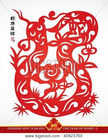 Traditional Chinese Paper Cutting For The Year of Snake Translation: Auspicious Year of Snake
