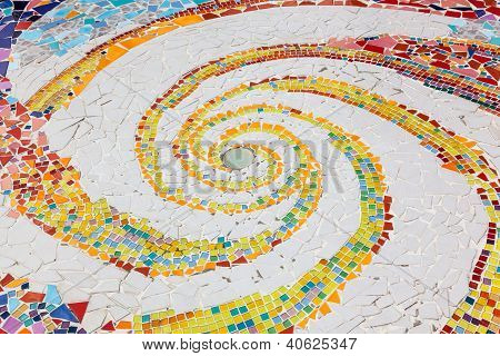 Colorful Tile Spiral Pattern Background