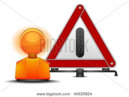 detailed illustration of a warning triangle with a safety lamp isolated on white
