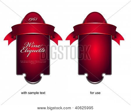 Vector red etiquette background for wine or chocolate