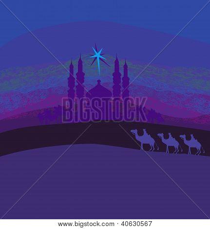 Classic Three Magic Scene And Shining Star Of Bethlehem, Vector Illustration