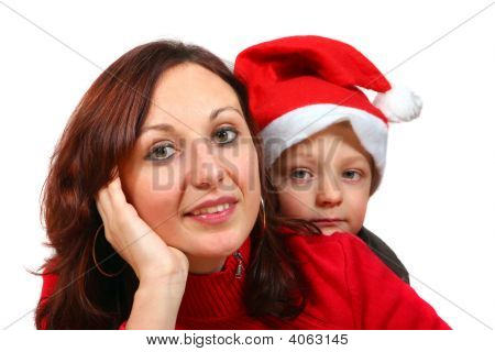 Mother And Son Waiting For Christmas