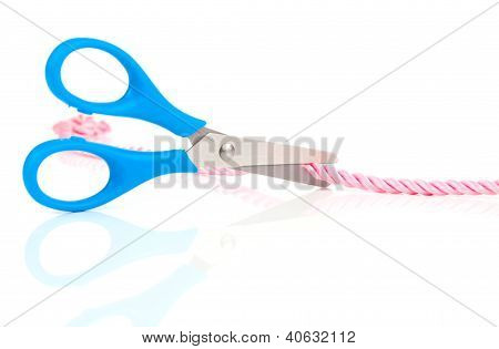 Scissors Cutting The Rope, Isolated On White Background
