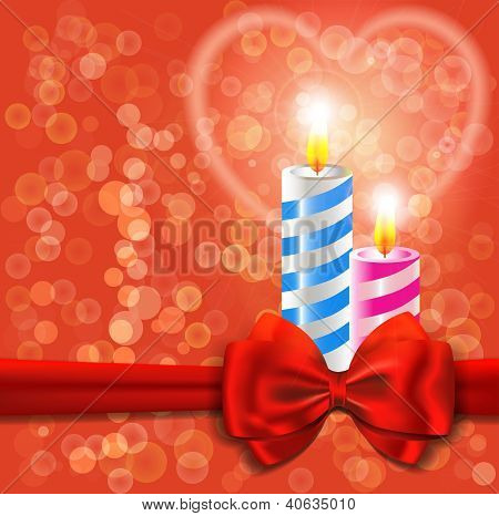 Valentine's Day Or Wedding Card With Burning Candles