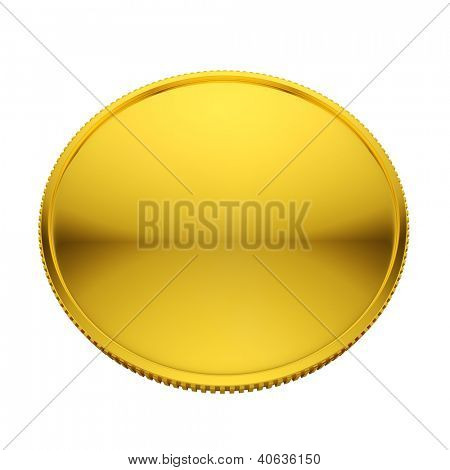 Blank golden coin isolated on white background