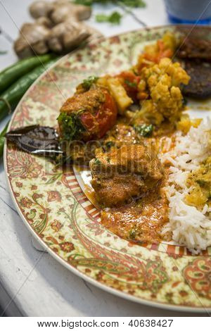 Indian Food Plate With Chicken Masala