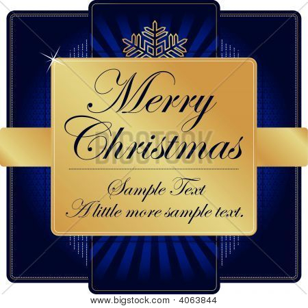 Ornate Blue And Gold Christmas Label