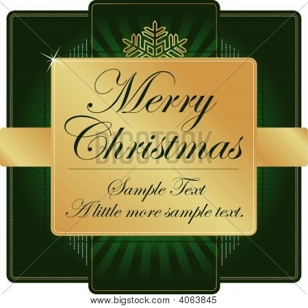 Ornate Green And Gold Christmas Label