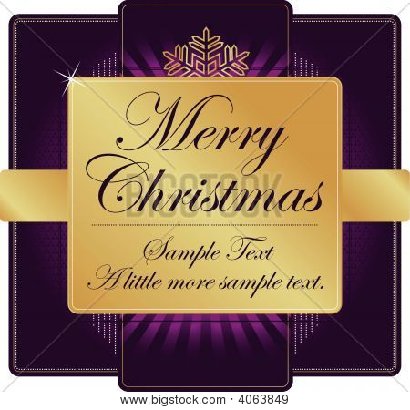 Ornate Purple And Gold Christmas Label