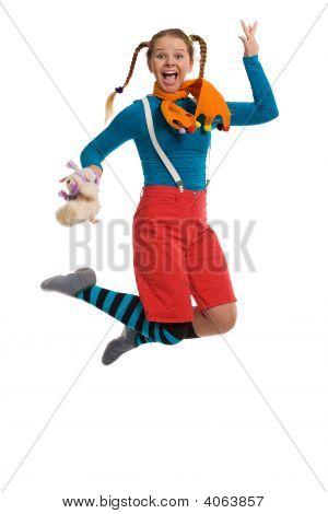 Cheerful Girl Jumps