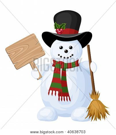 Christmas snowman with sign. Vector illustration.