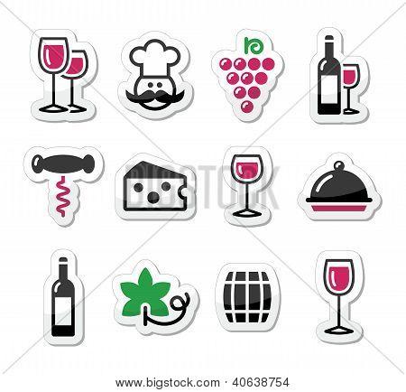 Wine labels set - glass, bottle, restaurant, food