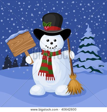 Christmas card with snowman and winter landscape. Vector illustration.