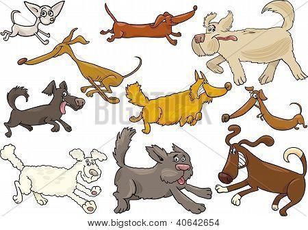 Cartoon Playful Running Dogs Set