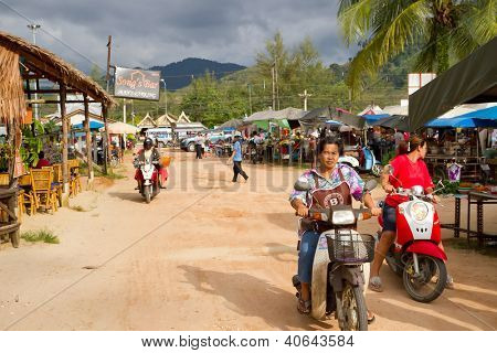 KHAO LAK, THAILAND - NOV 05: Unidentified people on the local market in Khao Lak. This market is also tourist attraction in Phang Nga province, Thailand on Nov.05, 2012.