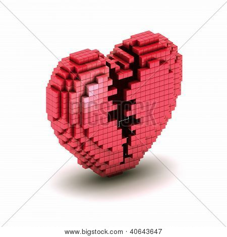 Orthogonal Broken Heart Pixel Icon
