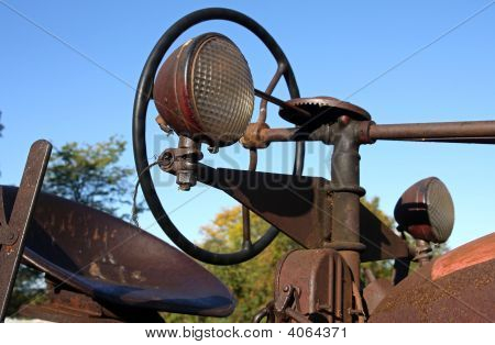 Antique Rusty Tractor Close-Up