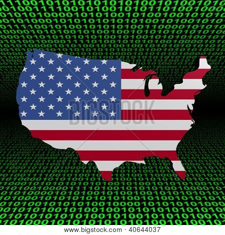 USA map flag over binary background illustration