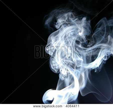 Smoke Black And White On Black Background