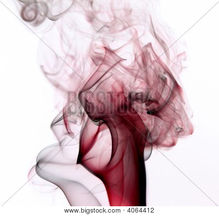 Smoke Red And Black On White Back Ground