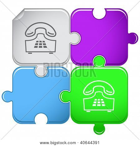 Push-button telephone. Raster puzzle. Vector version is in portfolio.