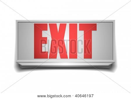 detailed illustration of a white exit sign with red letters