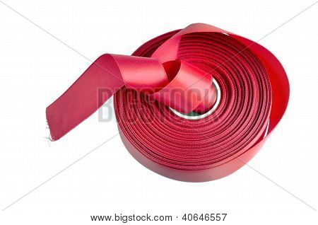 Red Ribbon Roll On White Background